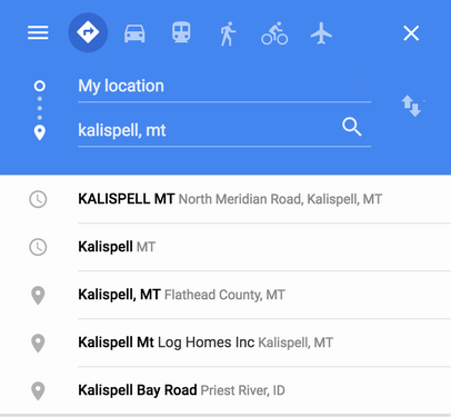 google directions, location suggestions hints