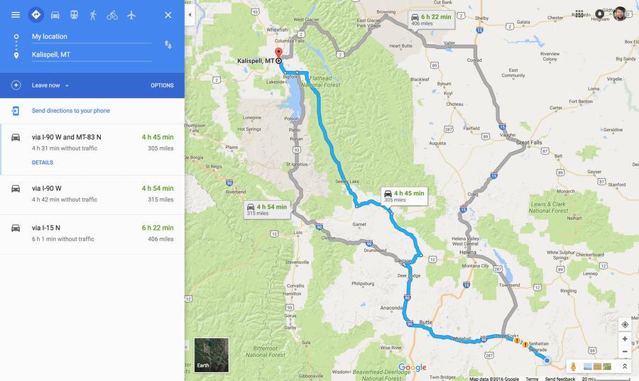 three routes, bozeman kalispell, google maps