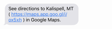 sms text message, google directions, iphone