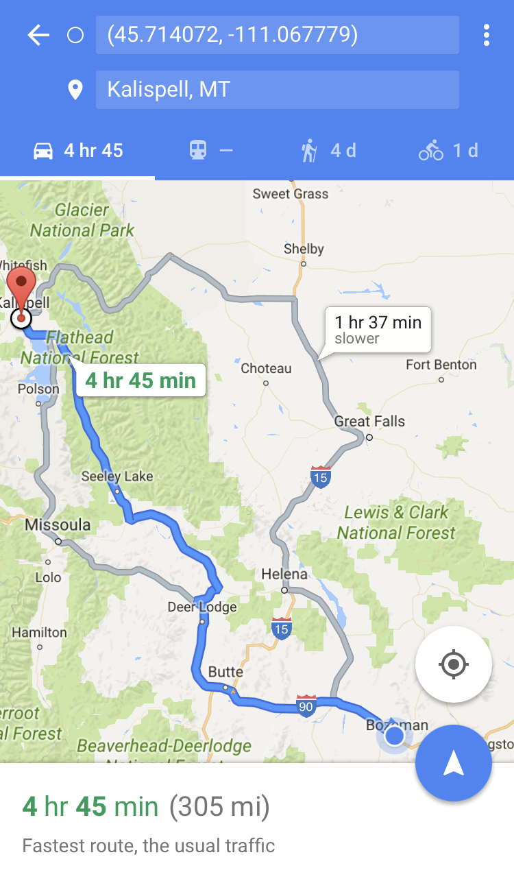 google maps driving directions bozeman kalispell mt montana apple iphone 6 7