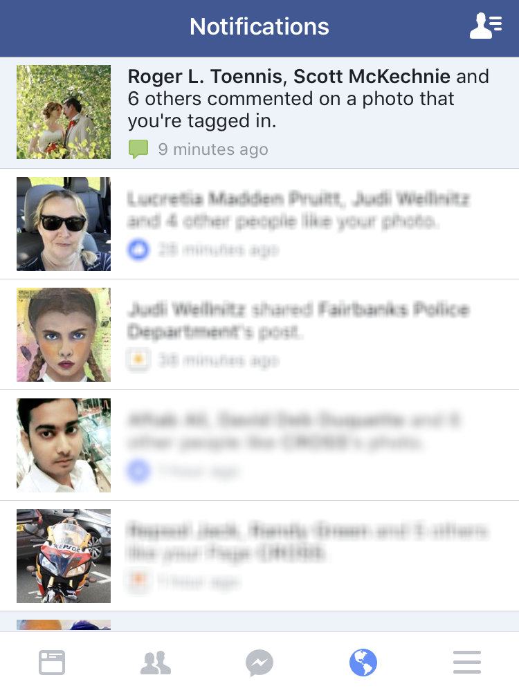 facebook fb status notifications window menu web