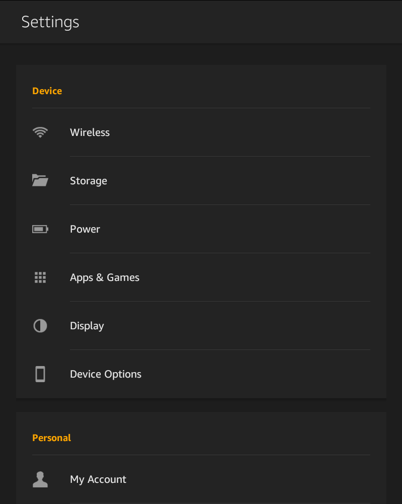 amazon kindle fire hd settings screen window view