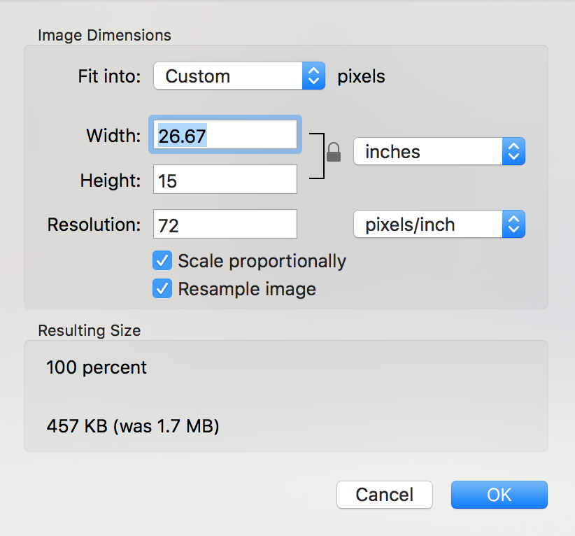 macos x preview change size window