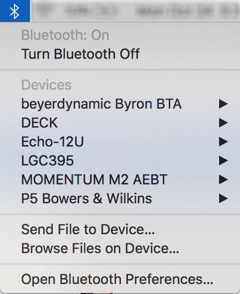 macos x bluetooth menu, shortcuts