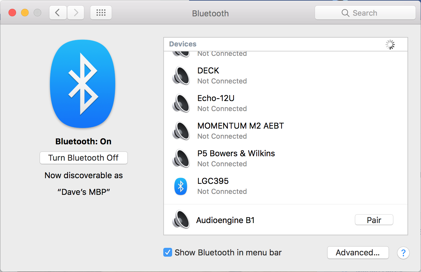 macos x bluetooth system preferences window