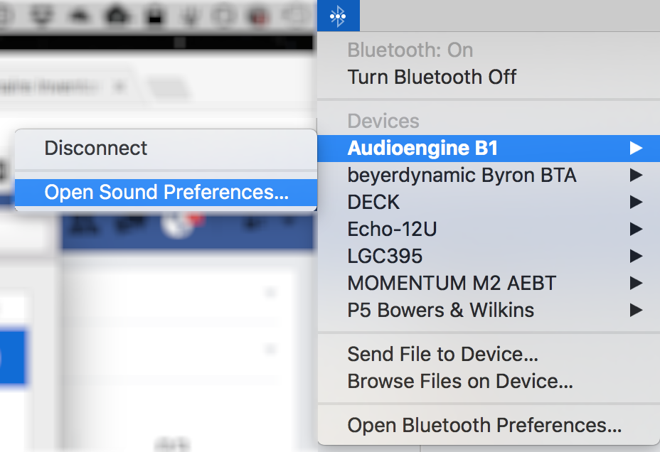 connect / disconnect / sound preferences from bluetooth menu macos x