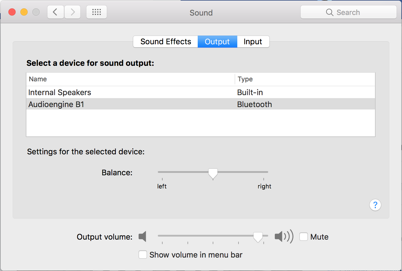 macos x bluetooth audio sound output device