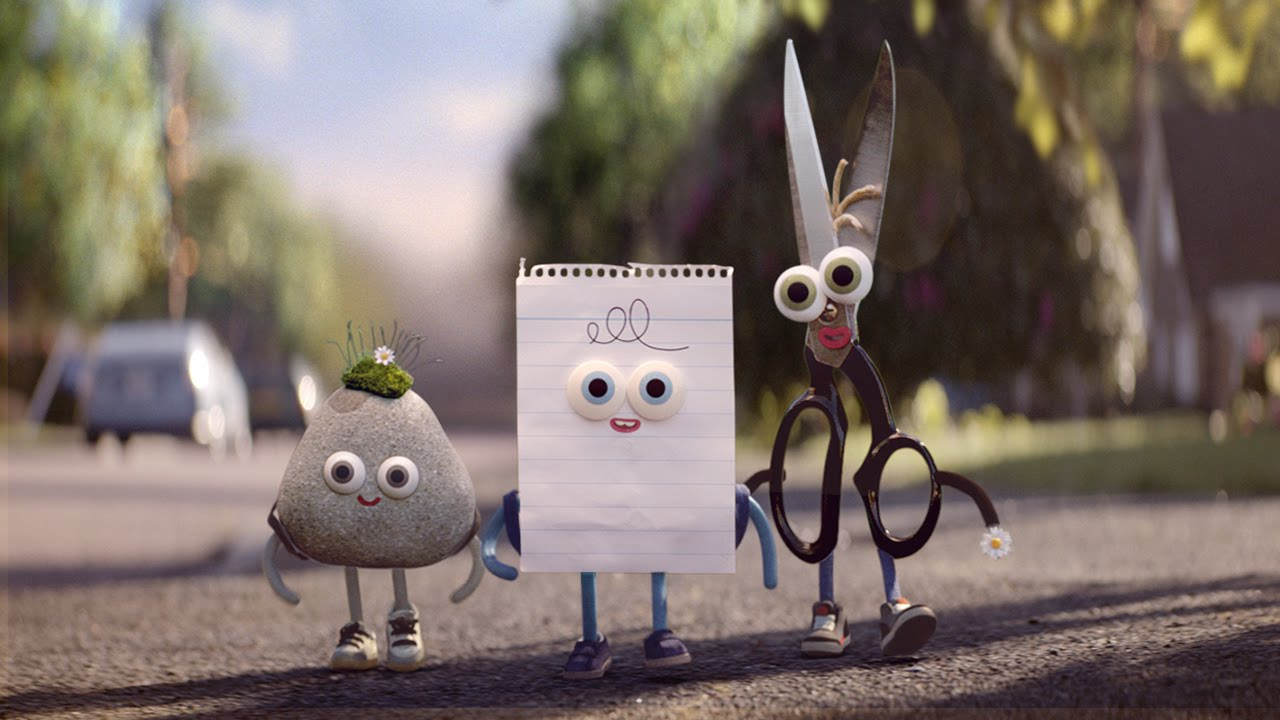 rock, paper and scissors from google android tv advert