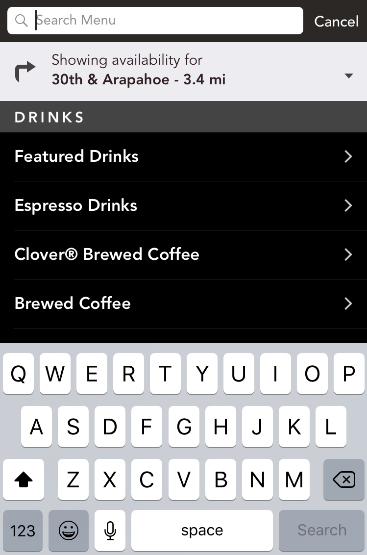 starbucks menu, iphone app
