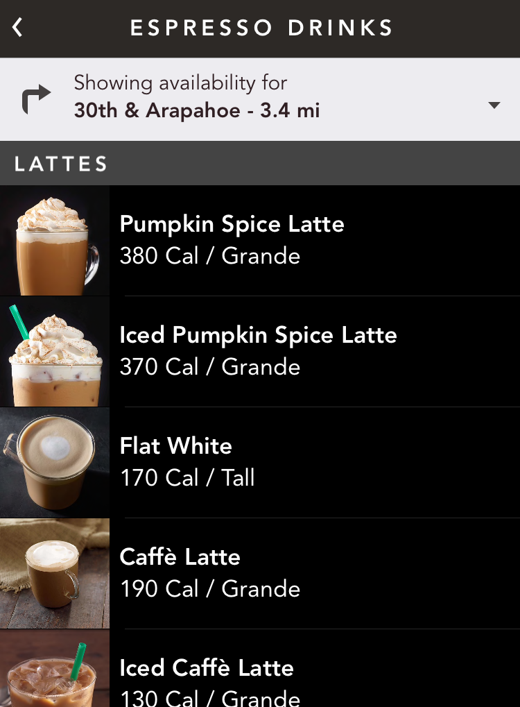starbucks espresso drinks, iphone app