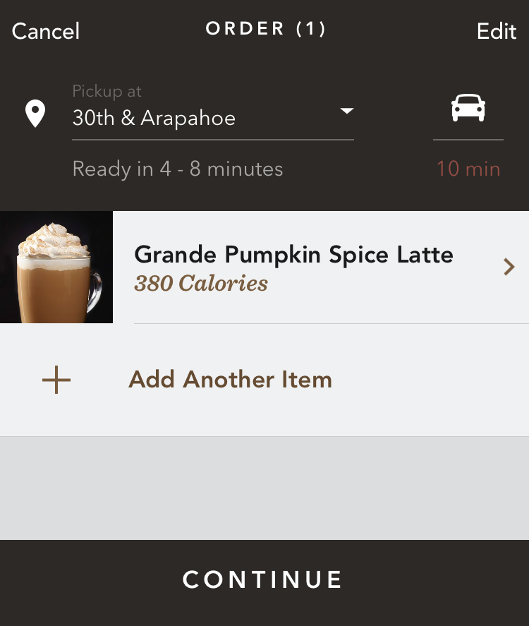 starbucks order - psl pumpkin spice latte added