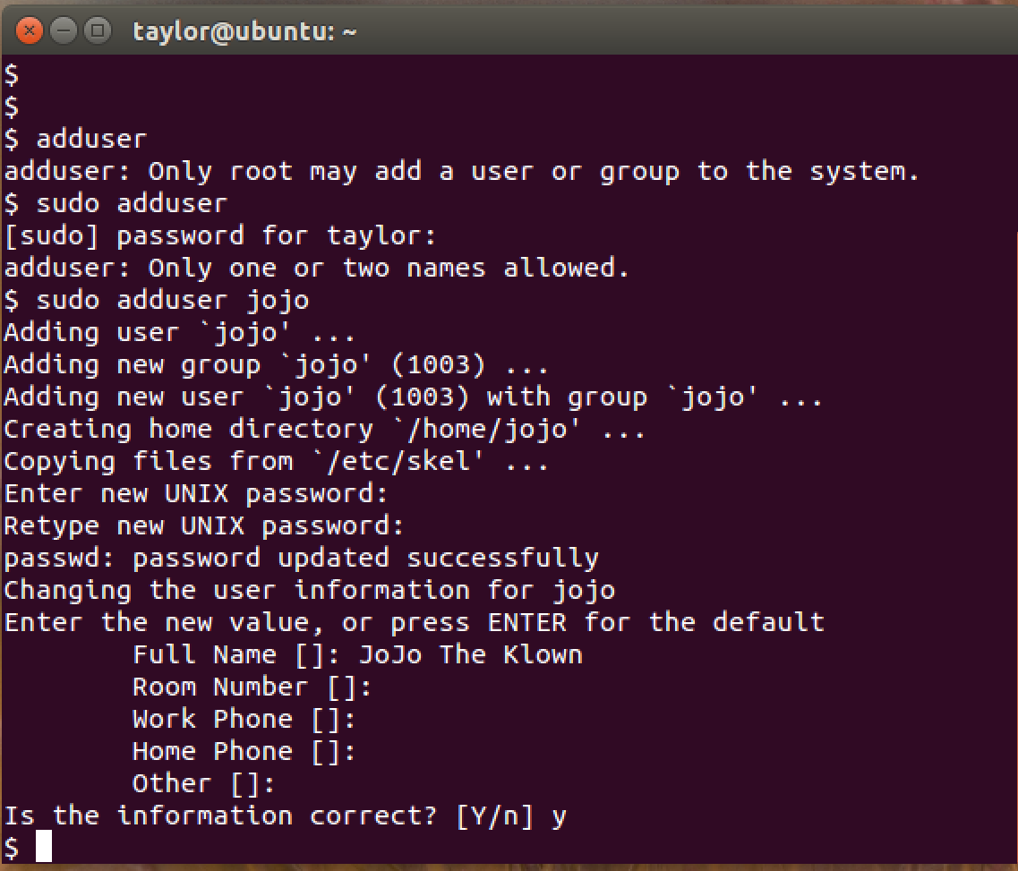 add new user, ubuntu linux, command line shell
