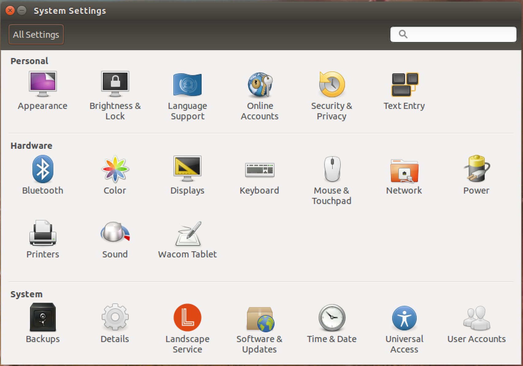 ubuntu linux system settings main window screen