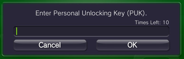 enter puk personal unlocking key