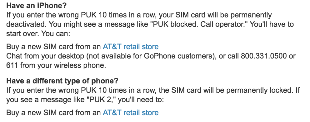 unlock puk pin unlock key code at&t iphone apple