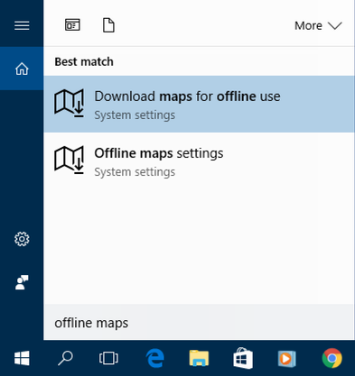 win10 cortana search 'offline maps'