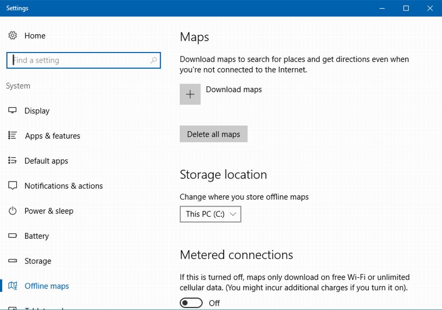 win10 offline maps map settings