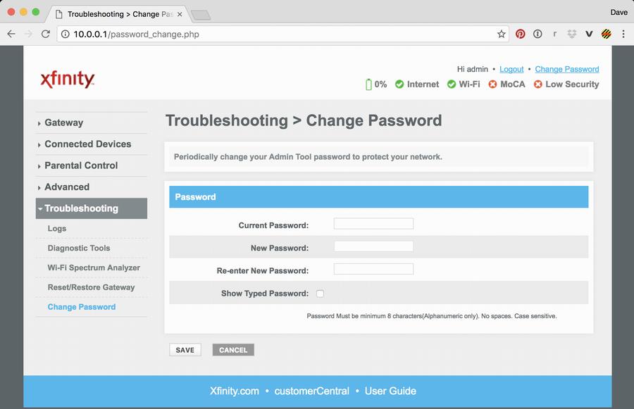 Change Comcast (Xfinity) Cable Modem Admin Password? - Ask ...