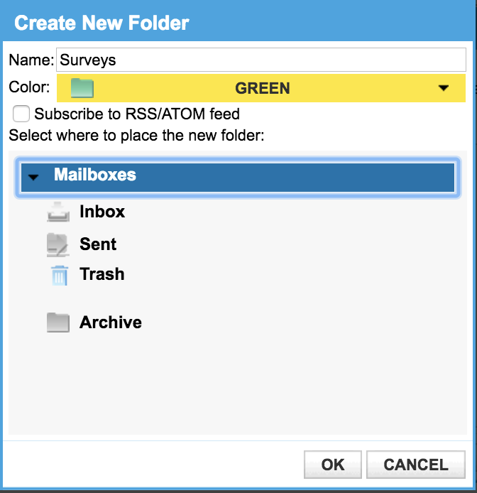 Create Email Folders In Comcast Xfinity Webmail?