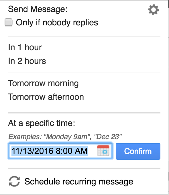 when do you want to send gmail email message