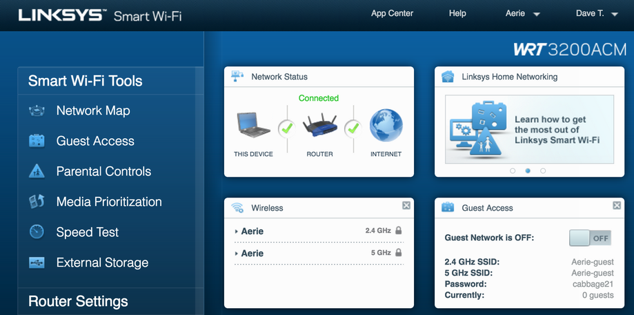 linksys smart wifi configuration router page