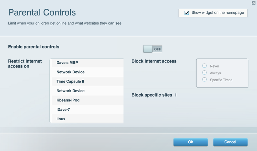 linksys router parental controls -- off