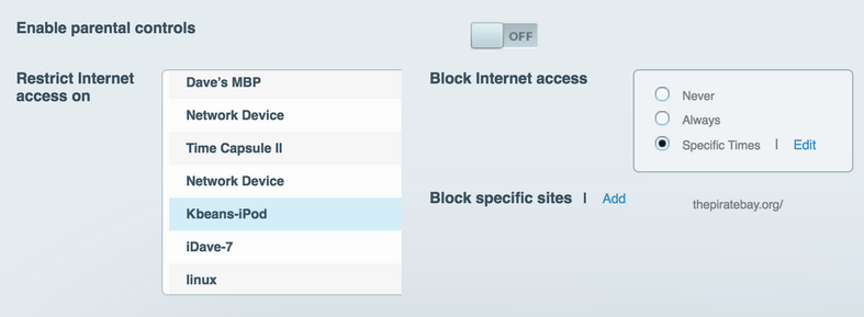 block site, parental control, linksys smart wifi