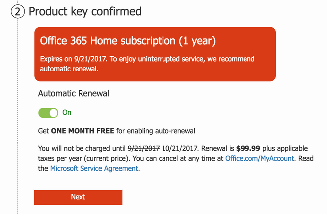 microsoft office 365 trial key