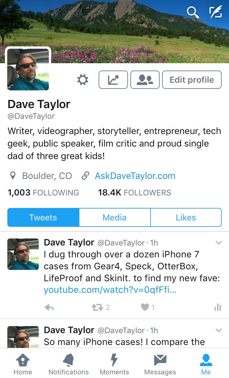 davetaylor profile on twitter, iphone twitter app