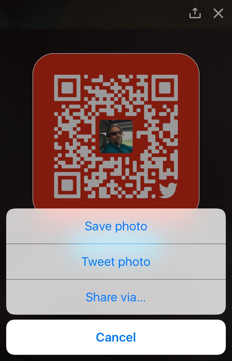 twitter qr code. share options