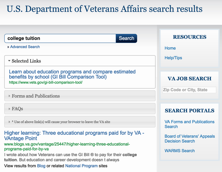 results of college tuition benefits search, va.gov veterans affairs