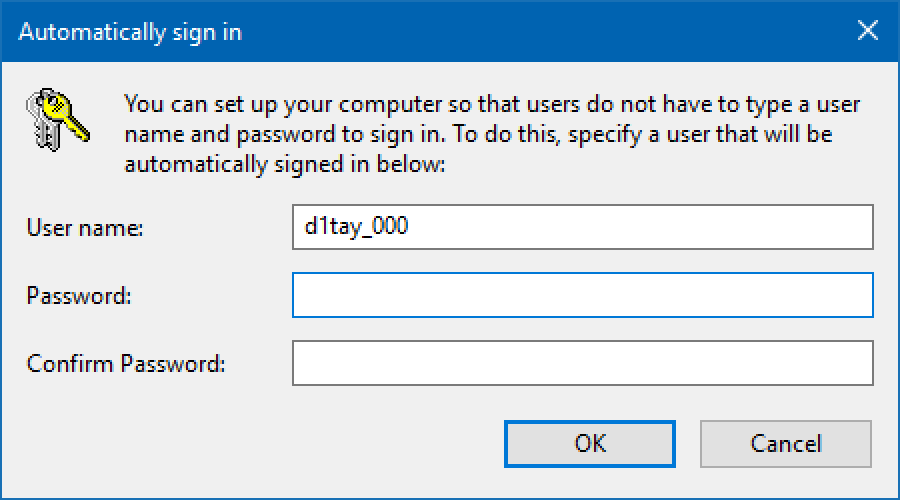 enter account password to disable login screen win10