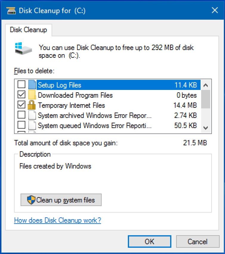 win10 disk cleanup, user screen