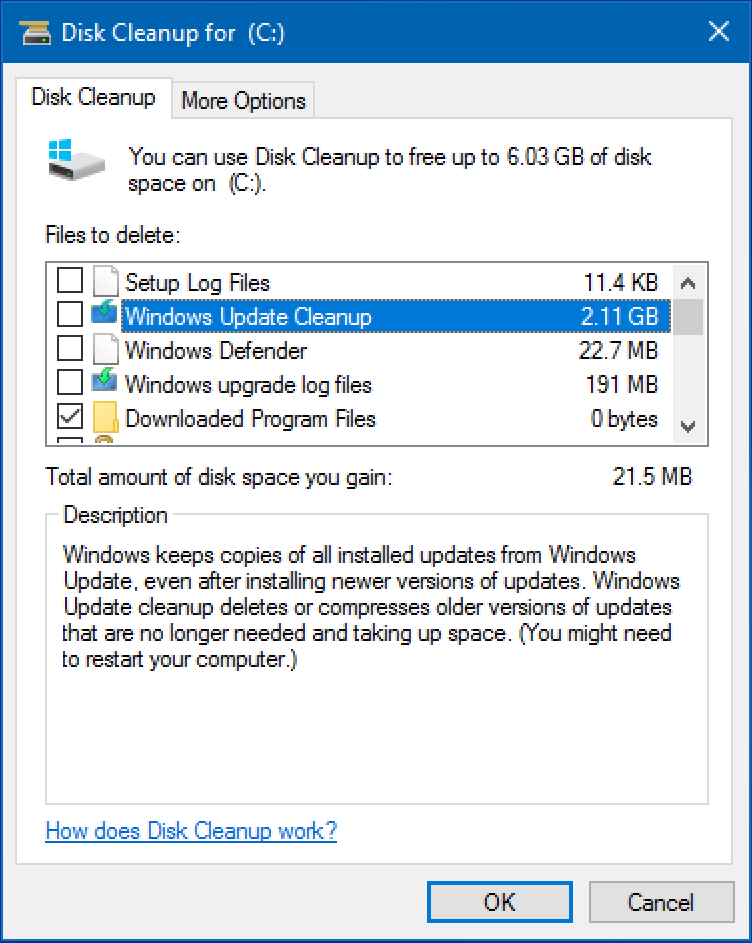 free up disk space, win10