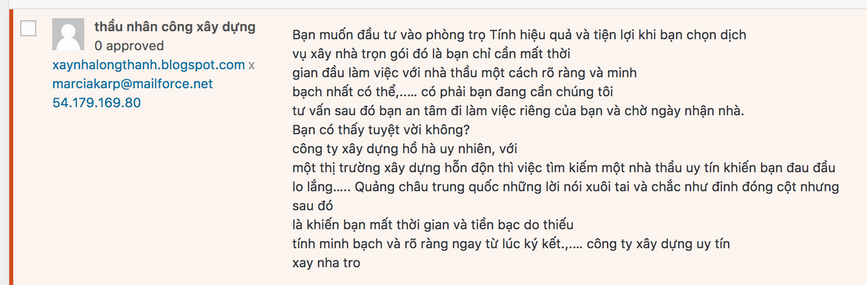 spam comment, wordpress blog, vietnamese