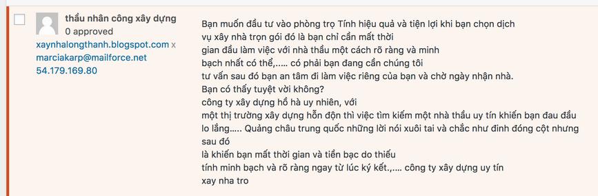spam comment, wordpress blog, vietnamese