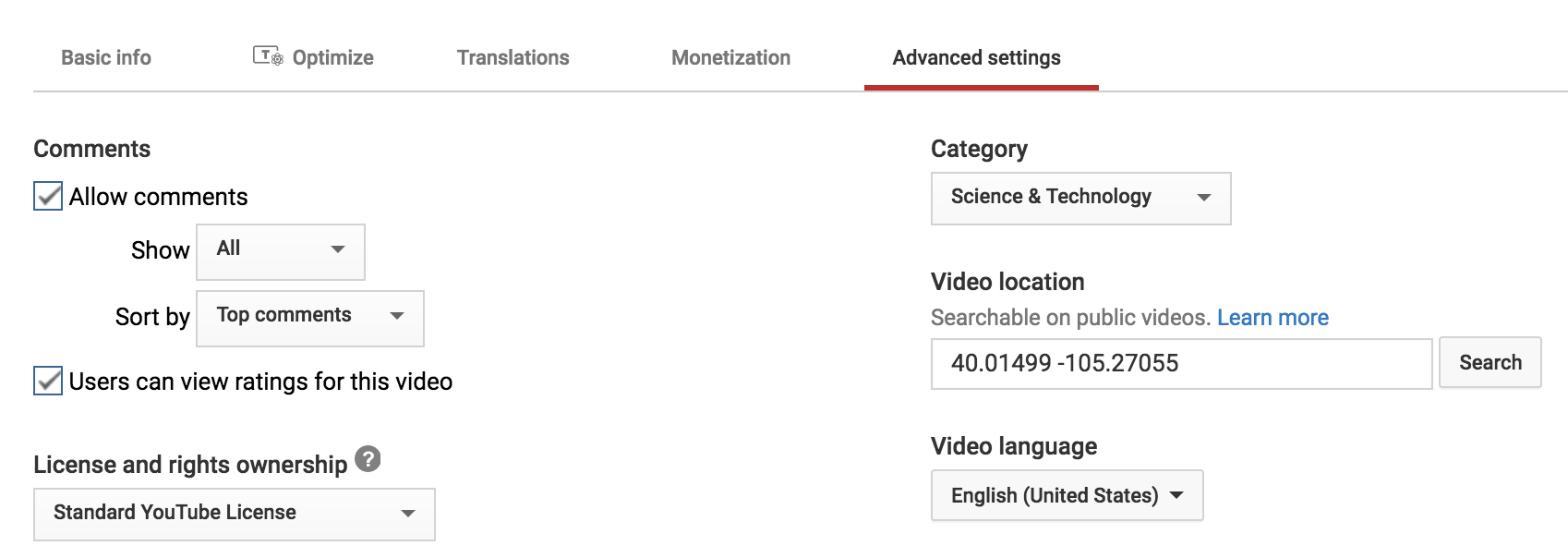 'advanced settings' youtube video manager