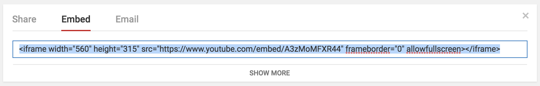 youtube video embed code