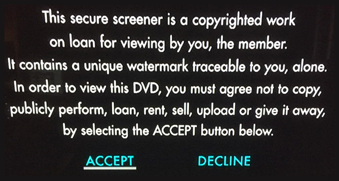 academy for your consideration dvd screener warning message