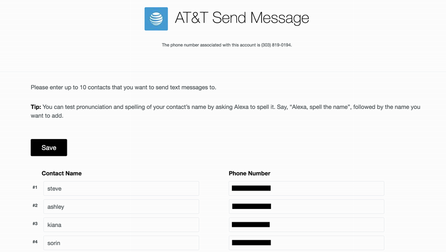 at&t send message phone number directory