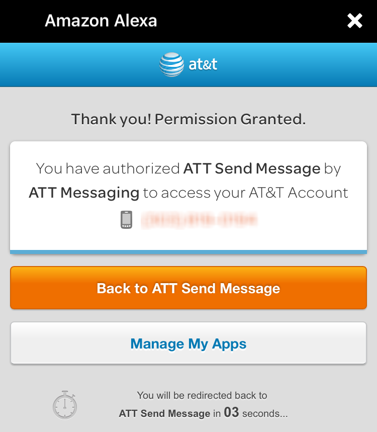 permission granted at&t send message echo skill