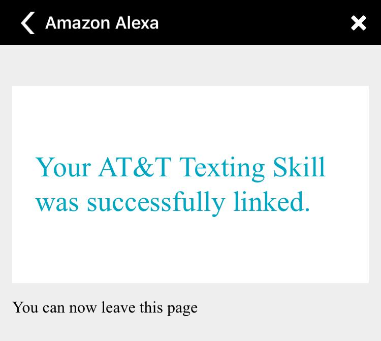 at&t texting skill was successfully linked amazon echo alexa