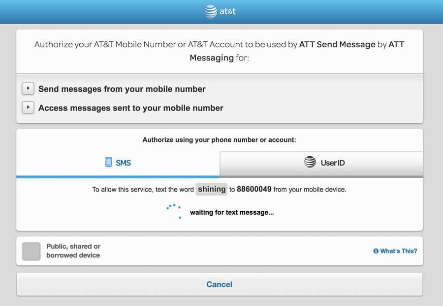 send secret word enable at&t send text skill address book