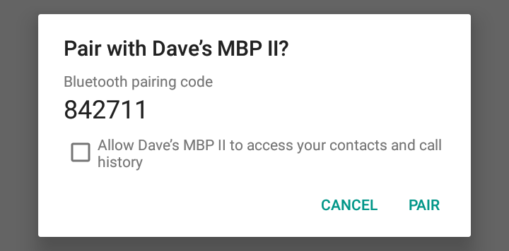 android pairing bluetooth code