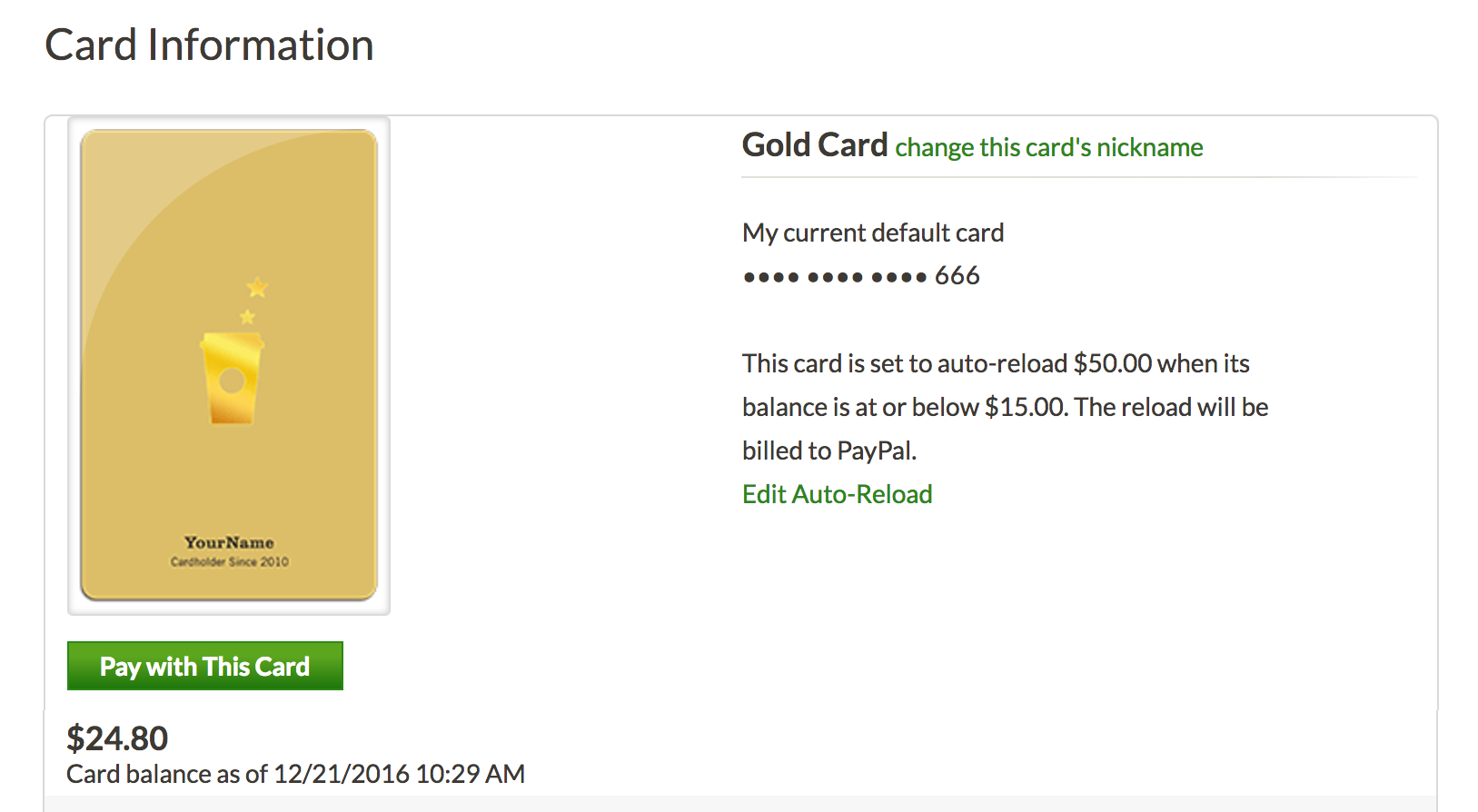 starbucks gold card, auto reload enabled