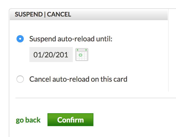 suspend or cancel starbucks card auto-reload