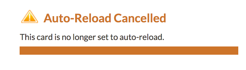 starbucks card auto-reload cancelled