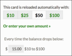 how to edit change cancel starbucks gold card auto-reload