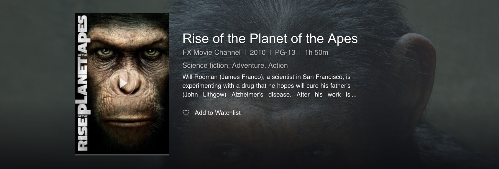 rise of the planet of the apes movie film info