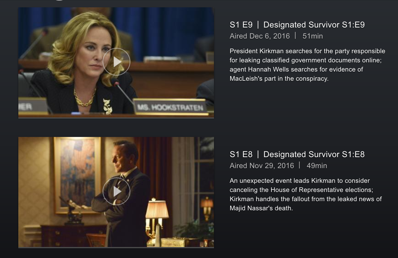 designated survivor episode guide directv now